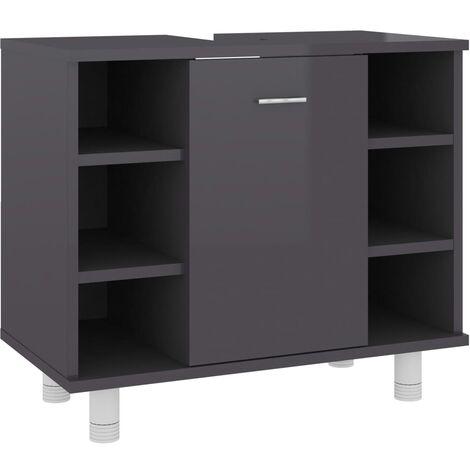 vidaXL Bathroom Cabinet High Gloss Grey 60x32x53.5 cm Chipboard - Grey