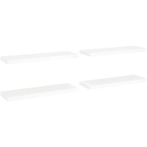 vidaXL Floating Wall Shelves MDF 4 pcs White 80x23.5x3.8 cm - White
