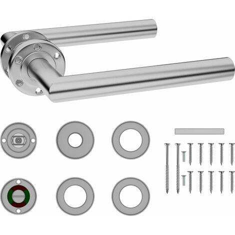 vidaXL Door Handle Set with WC Lock Stainless Steel - Silver