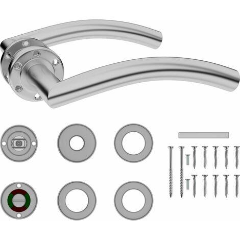 vidaXL Curved Door Handle Set with WC Lock Stainless Steel - Silver