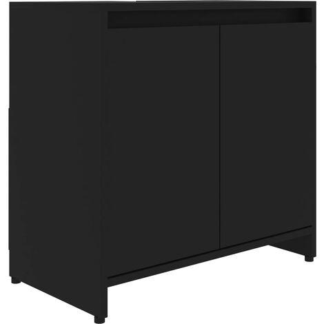 vidaXL Bathroom Cabinet Black 60x33x58 cm Chipboard - Black