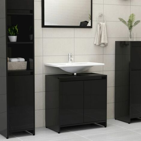 vidaXL Bathroom Cabinet High Gloss Black 60x33x58 cm Chipboard - Black