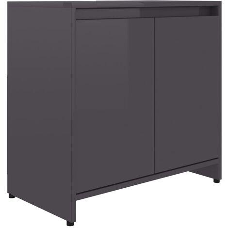vidaXL Bathroom Cabinet High Gloss Grey 60x33x58 cm Chipboard - Grey