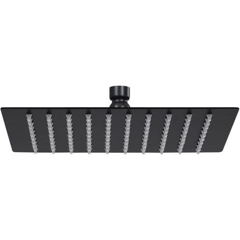 vidaXL Rain Shower Head Stainless Steel 20x20 cm Square Black - Black