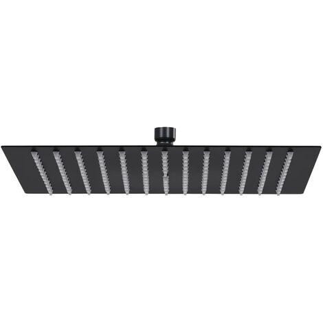 vidaXL Rain Shower Head Stainless Steel 30x30 cm Square Black - Black