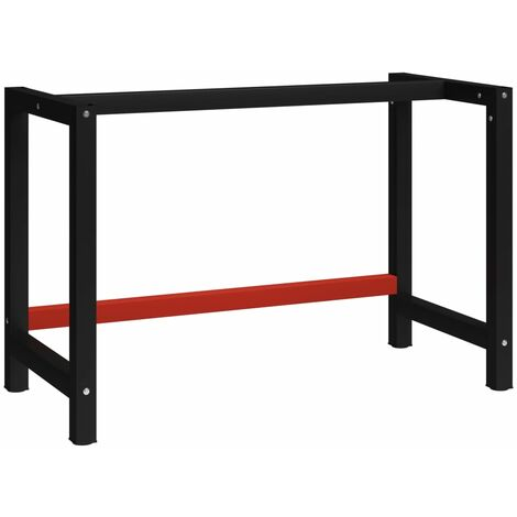 vidaXL Work Bench Frame Metal Black and Red 120x57x79 cm - Black