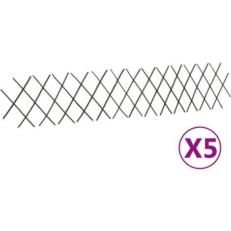 vidaXL Willow Trellis Fences 5 pcs 180x30 cm - Brown