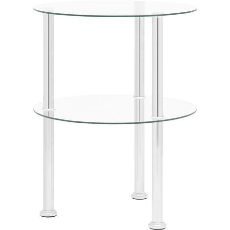 vidaXL 2-Tier Side Table Transparent 38 cm Tempered Glass - Transparent