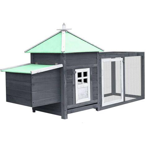 vidaXL Chicken Coop with Nest Box Grey 193x68x104 cm Solid Firwood - Grey