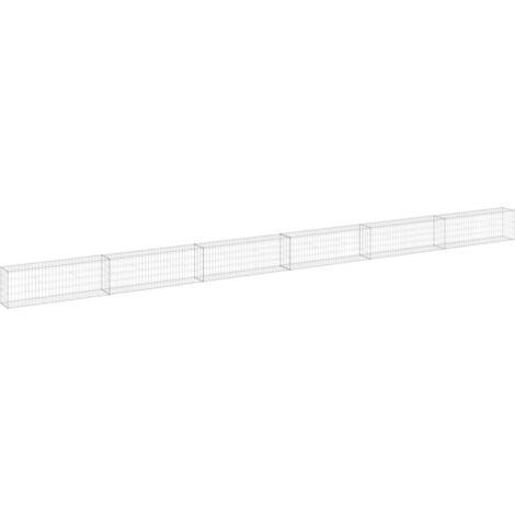 vidaXL Gabion Wall with Covers Galvanised Steel 900x30x50 cm - Silver