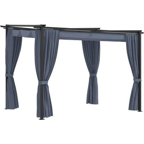 vidaXL Gazebo with Curtains 3x3 m Anthracite Steel - Anthracite