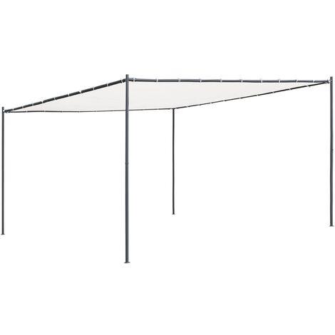 vidaXL Gazebo with Flat Roof 4x4x2.4 m White 180 g/m² - White