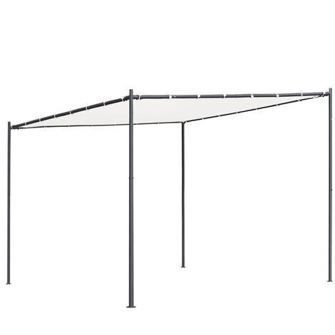 vidaXL Gazebo with Flat Roof 3x3x2.4 m White 180 g/m² - White