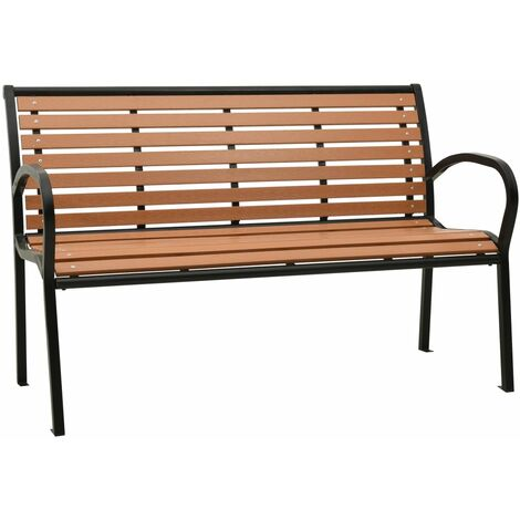vidaXL Garden Bench 125 cm Steel and WPC Black and Brown - Black