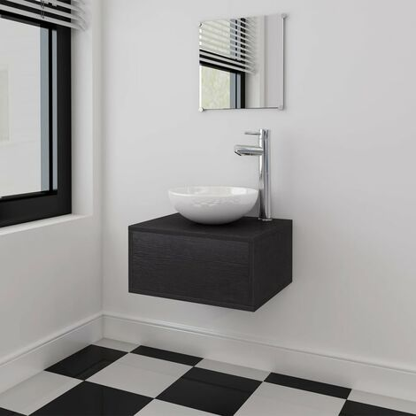 vidaXL Bathroom Furniture and Basin Set Three Piece Black - Black