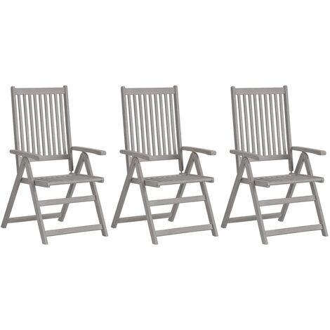 vidaXL Garden Reclining Chairs 3 pcs Grey Solid Acacia Wood - Grey