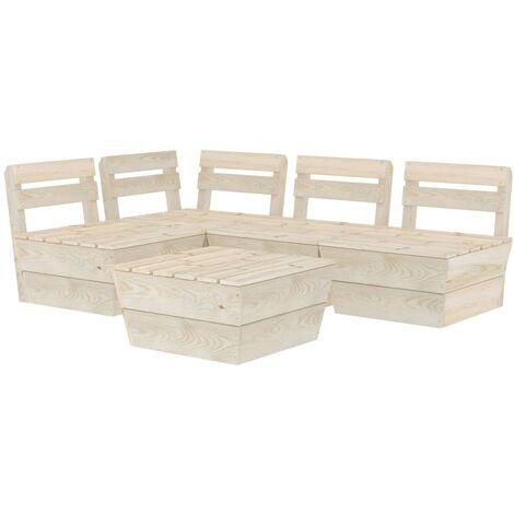 vidaXL 5 Piece Garden Pallet Lounge Set Impregnated Spruce Wood - Beige
