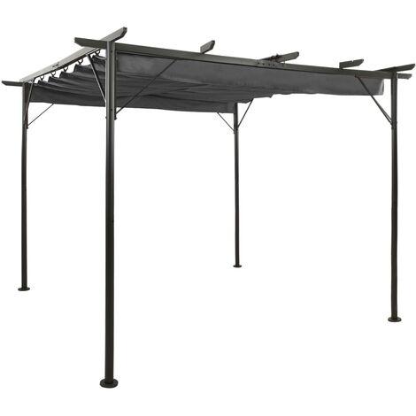 vidaXL Pergola with Retractable Roof Anthracite 3x3 m Steel 180 g/m² - Anthracite