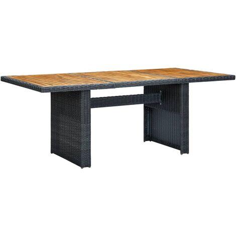 vidaXL Garden Table Dark Grey Poly Rattan and Solid Acacia Wood - Grey