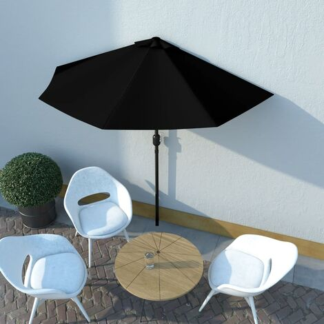 vidaXL Balcony Parasol with Aluminium Pole Black 270x135x245 cm Half - Black