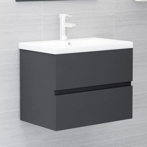 vidaXL Sink Cabinet Grey 60x38.5x45 cm Chipboard - Grey