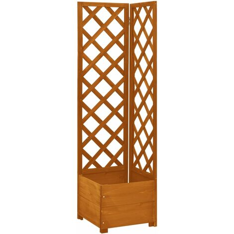 vidaXL Corner Trellis Planter Orange 40x40x150 cm Solid Firwood - Orange