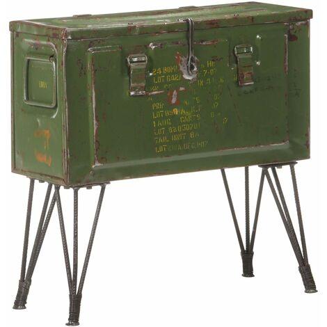 vidaXL Storage Trunk Military Style 68x24x66 cm Iron - Green