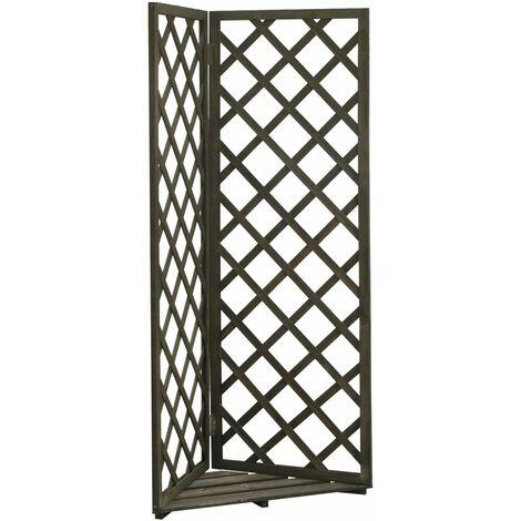 vidaXL Corner Trellis Planter Grey 50x50x145 cm Solid Firwood - Grey