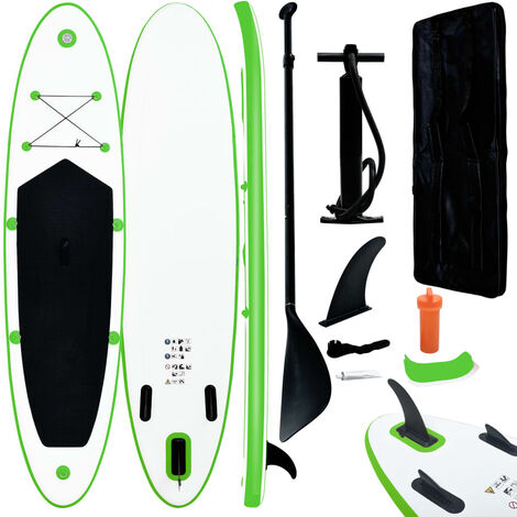 vidaXL Inflatable Stand Up Paddleboard Set Green and White - Green