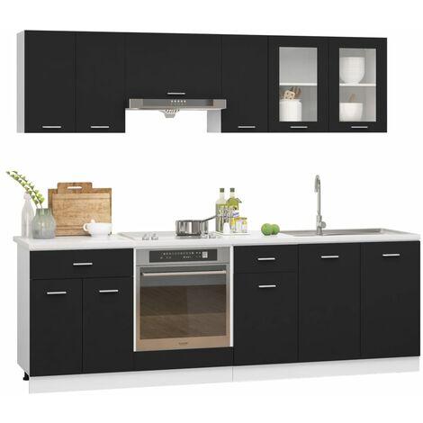 vidaXL 8 Piece Kitchen Cabinet Set Chipboard Black - Black