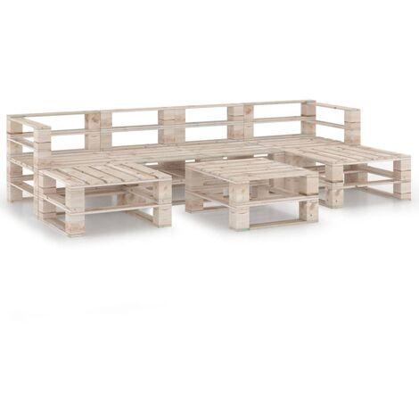 vidaXL 7 Piece Garden Pallet Lounge Set Pinewood - Beige