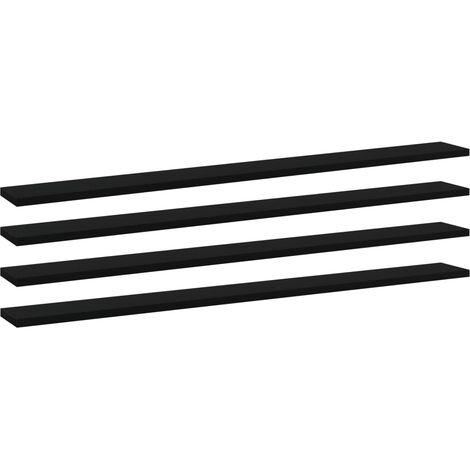 vidaXL Bookshelf Boards 4 pcs Black 100x10x1.5 cm Chipboard - Black