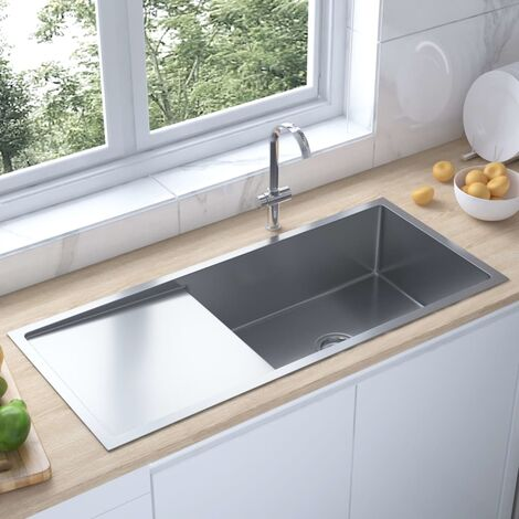 51526 vidaXL Handmade Kitchen Sink Stainless Steel - Silver