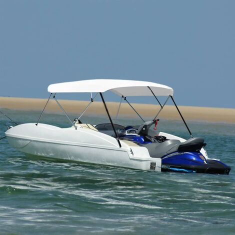 vidaXL 4 Bow Bimini Top White 243x(230-244)x137 cm