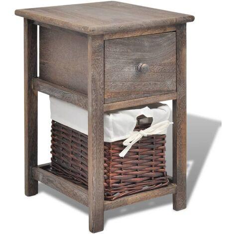vidaXL Bedside Cabinet Wood Brown - Brown