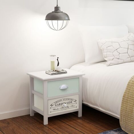 vidaXL French Bedside Cabinet Wood - White