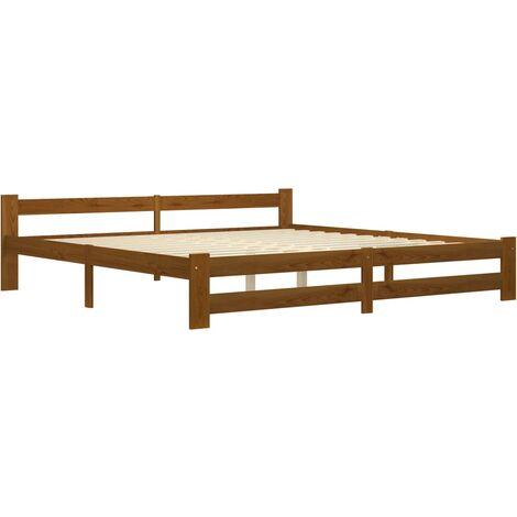 vidaXL Bed Frame Honey Brown Solid Pine Wood 200x200 cm - Brown