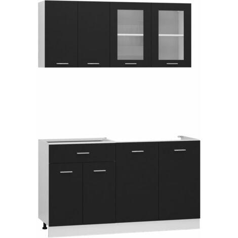 vidaXL 4 Piece Kitchen Cabinet Set Chipboard Black - Black