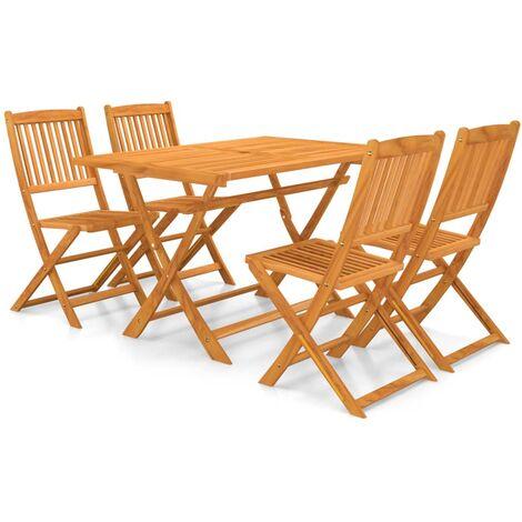 vidaXL 5 Piece Folding Garden Dining Set Solid Acacia Wood - Brown