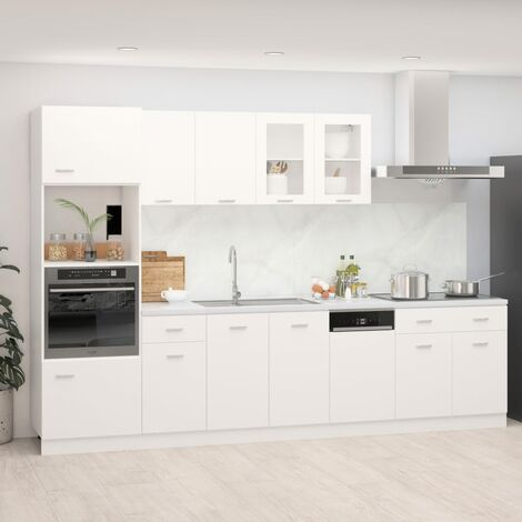 vidaXL 7 Piece Kitchen Cabinet Set Chipboard White - White