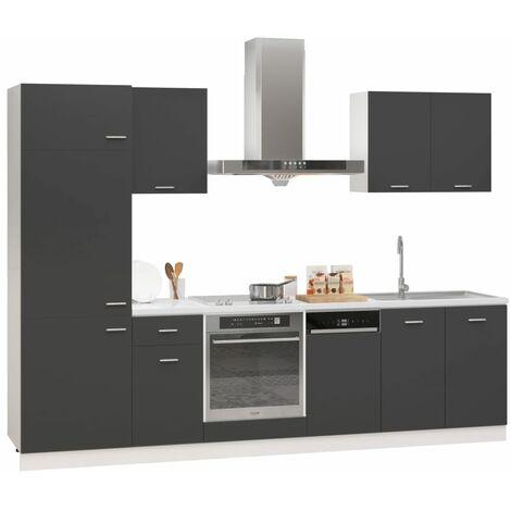 vidaXL 7 Piece Kitchen Cabinet Set Chipboard Grey - Grey