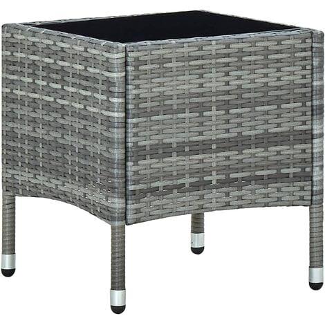 vidaXL Garden Table Grey 40x40x45 cm Poly Rattan - Grey
