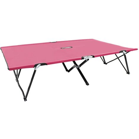 vidaXL Two Person Folding Sun Lounger Pink Steel - Pink