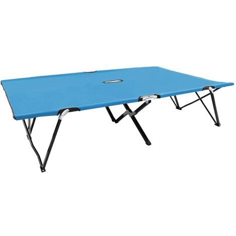 vidaXL Two Person Folding Sun Lounger Blue Steel - Blue