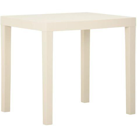vidaXL Garden Table White 79x65x72 cm Plastic - White