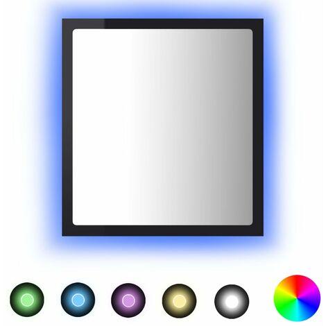 vidaXL LED Bathroom Mirror High Gloss Black 40x8.5x37 cm Chipboard - Black