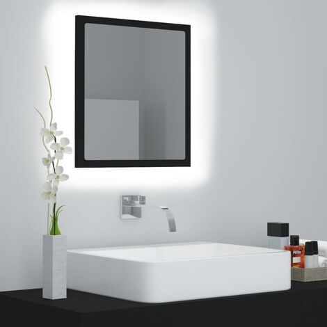 vidaXL LED Bathroom Mirror Black 40x8.5x37 cm Chipboard - Black