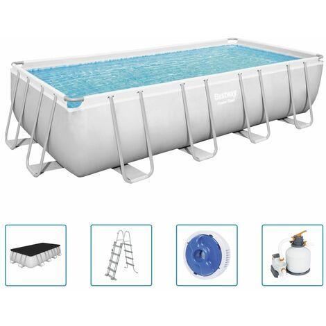 Bestway Power Steel Swimming Pool Set Rectangular 549x274x122 cm - Grey