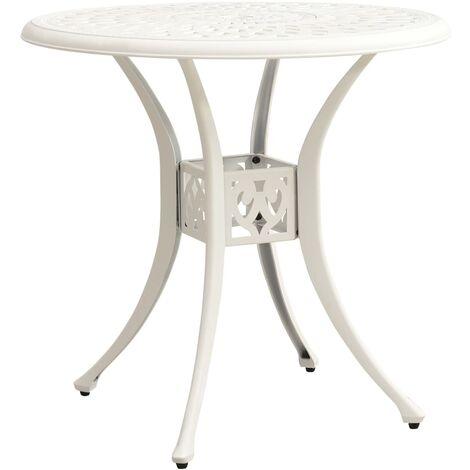 vidaXL Garden Table White 78x78x72 cm Cast Aluminium - White