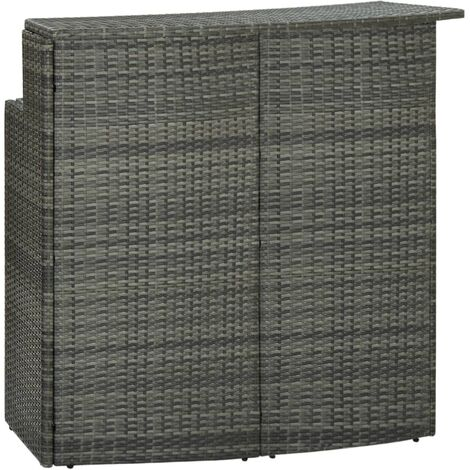 vidaXL Garden Bar Table Grey 120x55x110 cm Poly Rattan - Grey